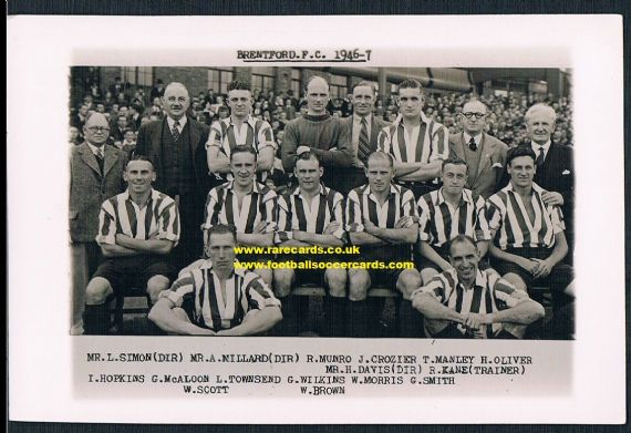 1946 Brentford Wilkes archive card